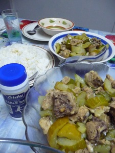 Family meals: Chicken with cucumber and white rice. Photo by Jessica Hardin.