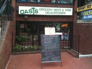 Beer and Welding's sandwich board outside Oasis grocery, Washington, DC.