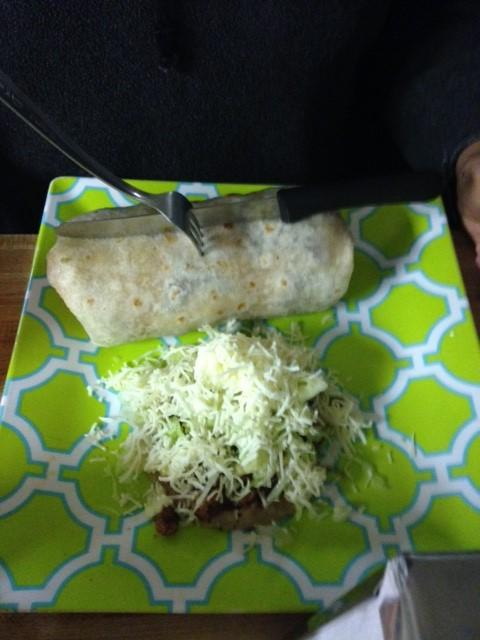 Mario's meal: burrito de asada grande and sope de asada.