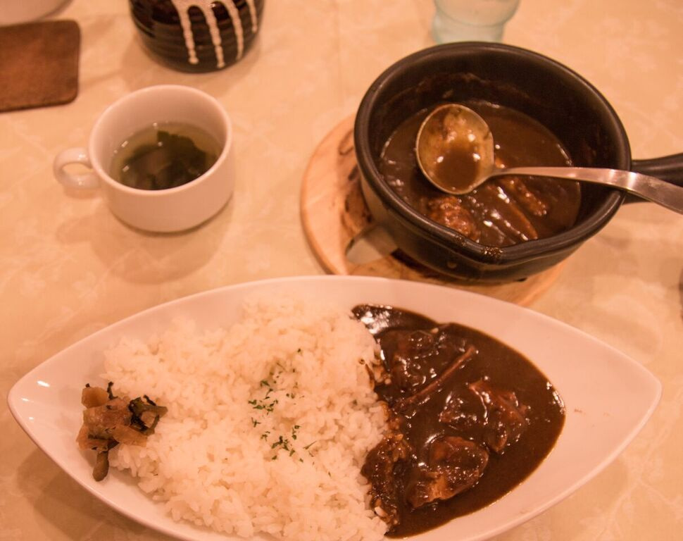Curryrice with side of miso soup, Kyoto