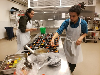 Dessert preparation at the Ecuadorian Dinner