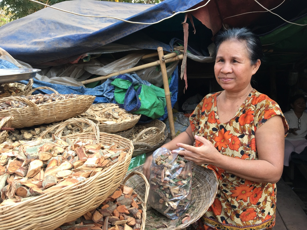 A khmer woman with long dark hair tied back behind her neck holds a plastic bag full of Traditional Khmer Medicine woody plant parts over a woven basket. She wears a scooping neck shirt decorated with large orange flowers.  To her left are a cascade of woven baskets full of other Traditional Khmer medicine woody plant parts. In the background, is a shack covered in various blue and green tarps which are layered upon one another as a roof. Faintly on her right side in the distance, there is a man wearing a white shirt, white pants, and glasses sitting on a stool in the shack.